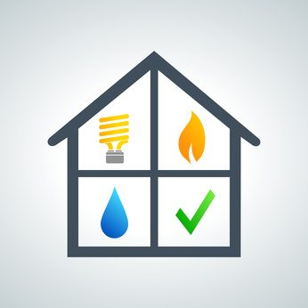 icon of house with utilities symbols
