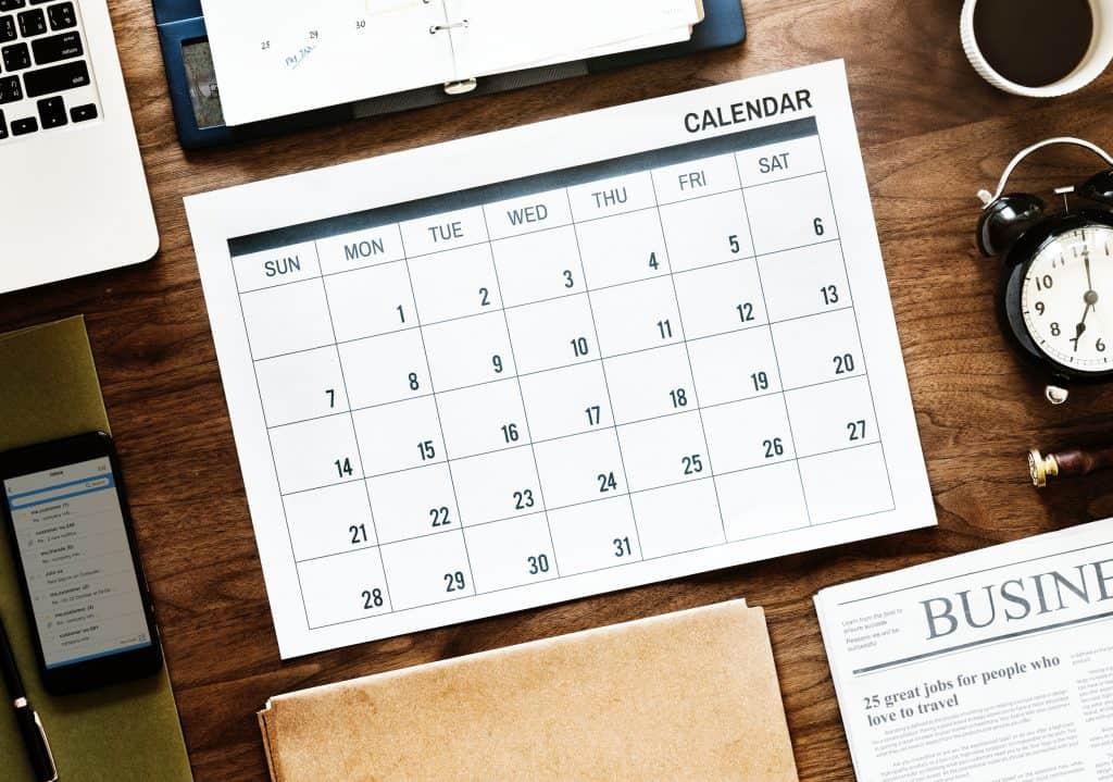 overhead view of a calendar
