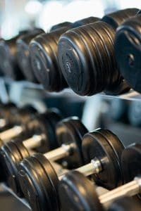 racks of weights for strength training