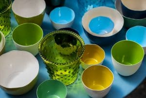 blue green and yellow ceramic dishware