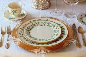 fragile christmas china dish set